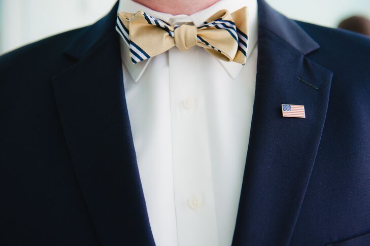 To stand apart from his groomsmen who wore yellow ties, Will wore a yellow-and-navy tie.