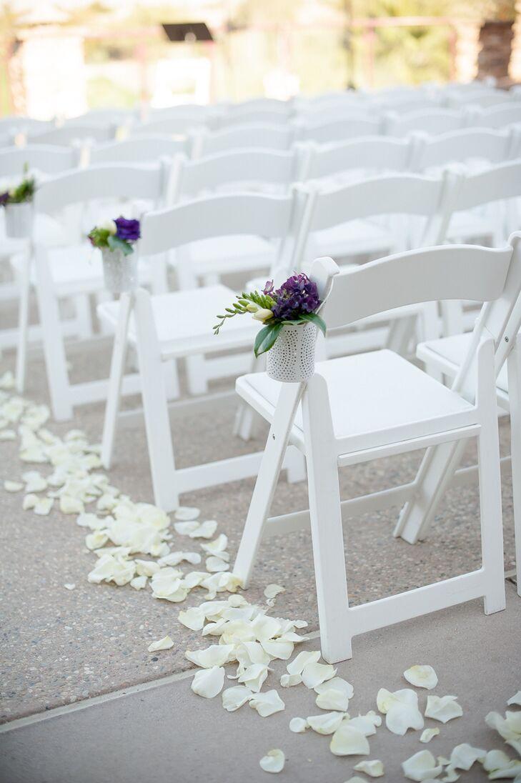 White Folding Chairs Flower Aisle Decoration