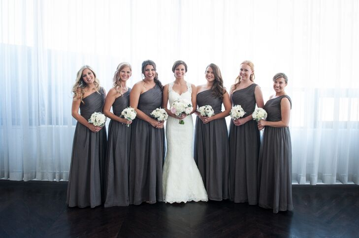 Asymmetrical Gray Floor-Length Bridesmaid Dresses