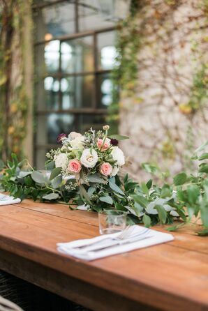 Eucalyptus Garland and Garden Rose Centerpiece