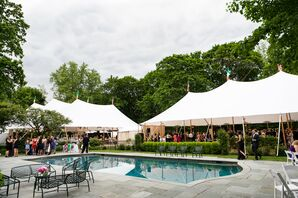 Backyard Wedding with Tents and Pool