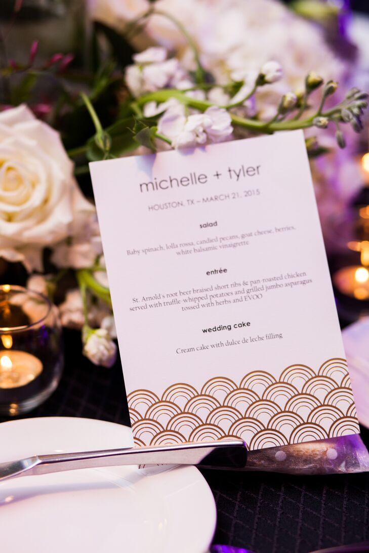 Art-Deco-Inspired White and Gold Menu