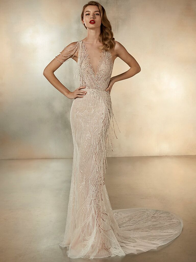 Atelier Provonias wedding dress champagne beaded plunge dress