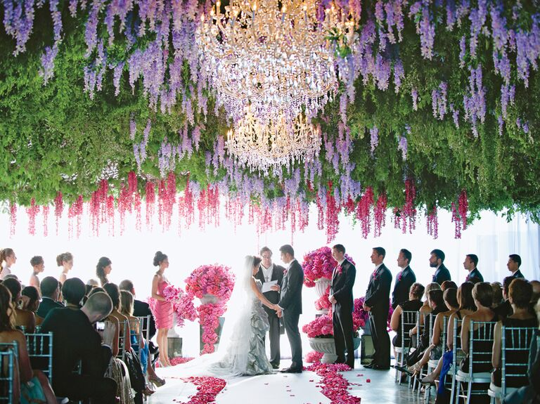 Jeannie Savage's hanging flowers tented wedding ceremony design