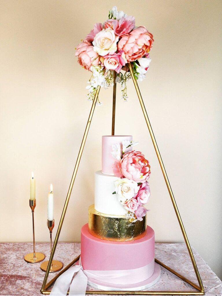 Modern tall triangular wedding cake stand
