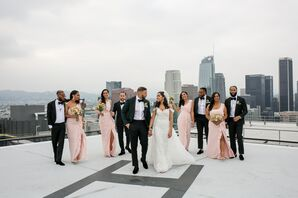 Modern Couple and Formal Wedding Party on LA Rooftop