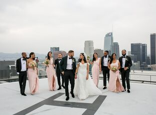 Samantha Shoushtari and Kye Dohrmann's wedding at SkyStudio overlooked the sprawling Los Angeles skyline. Upon exiting the elevator on the 30th floor,