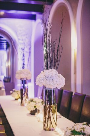 White Floral and Glass Vase Centerpieces