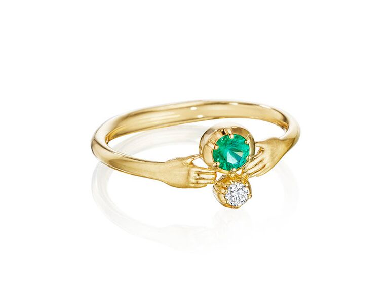 Emerald and diamond engagement ring with small hands