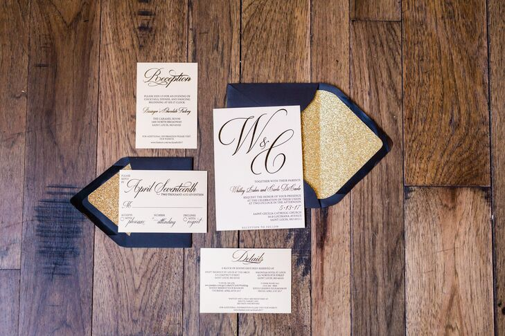 Whitley, who has a degree in graphic design, created the simple and sophisticated invitation suite.