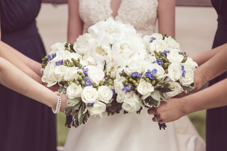 White Bouquets with Roses, Peonies and Hypericum Berries