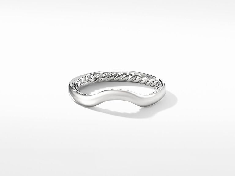 platinum arched wedding band with signature cable design