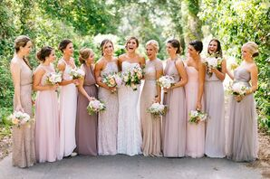 Taupe and Blush Bridesmaid Dresses
