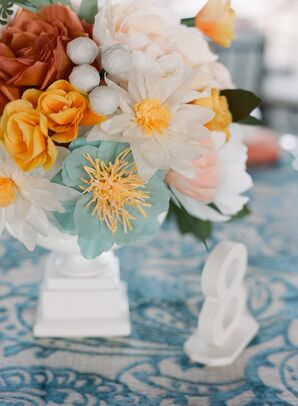 Colorful Paper Flowers in White Vase