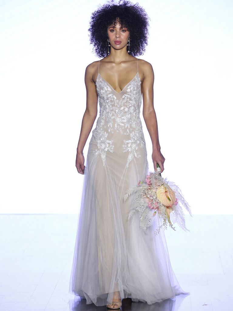 Watters Fall 2019 Bridal Collection floral lace wedding dress with spaghetti straps