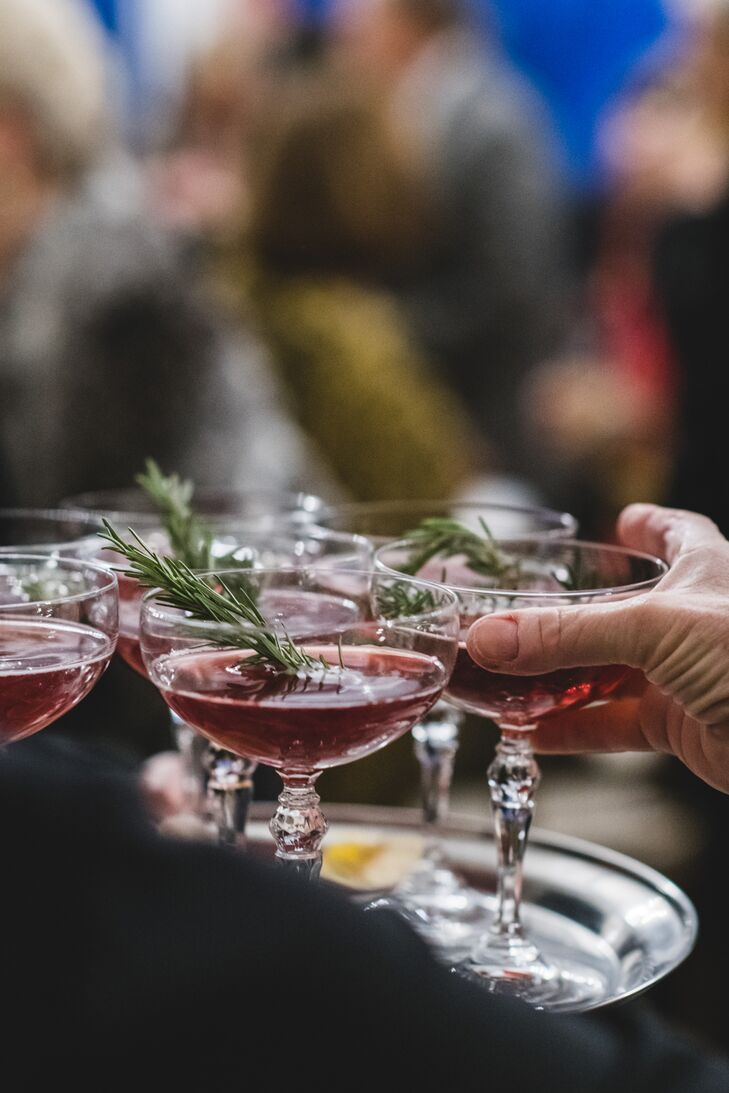 Rosemary-Garnished Cocktails in Vintage Coupes
