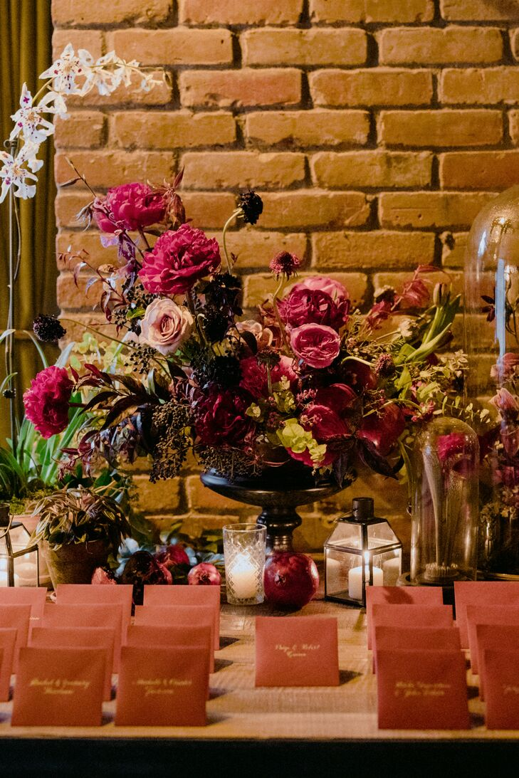 Modern Escort Cards and Burgundy Flower Arrangements