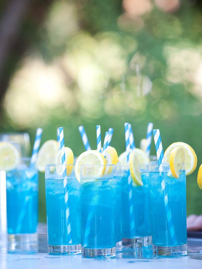 Bright blue wedding cocktails
