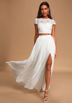 Lulus Sweet Stunner White Lace Two-Piece Maxi Dress A-Line Wedding Dress