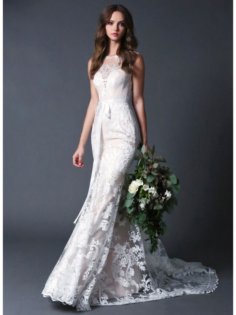ROMONA New York RB028 lace wedding dress with fluted skirt