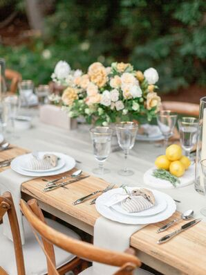 Simple Place Settings on Elegant Wooden Dining Table
