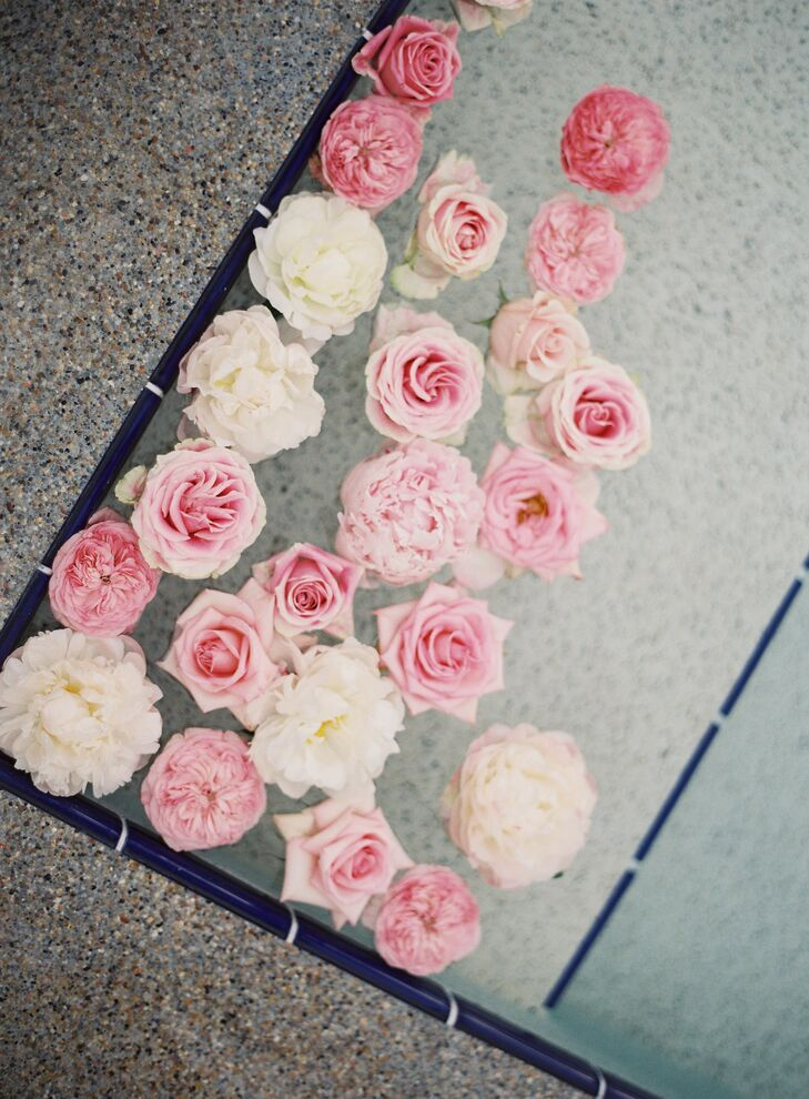 Pink and White Floral Swimming Pool Accents