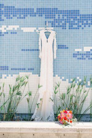 Long-Sleeve Wedding Dress with Low Neckline
