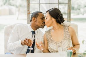 Romantic Couple Toasting at Reception