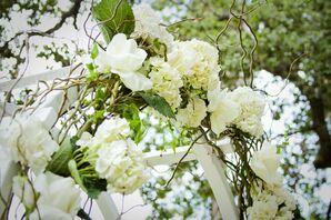 Hydrangea- and Rose-Adorned Wedding Arch