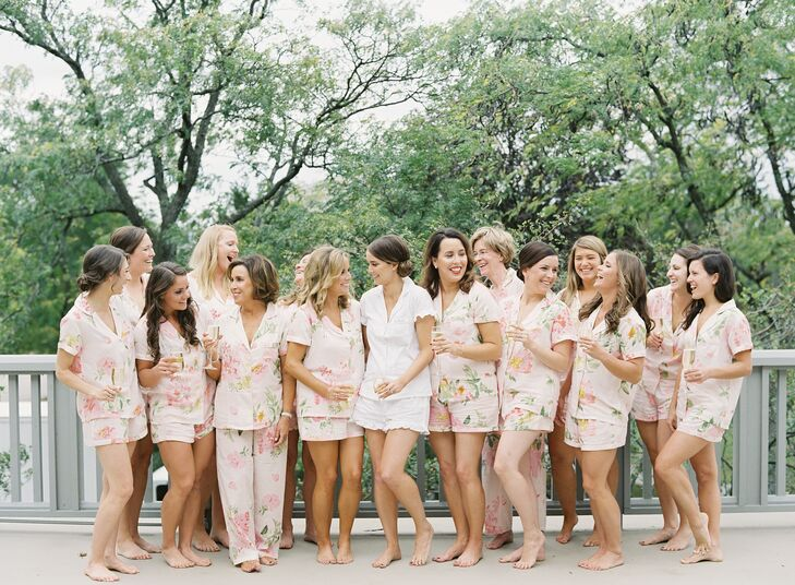 Bridesmaids and Bride Getting Ready in Floral Print Pajamas