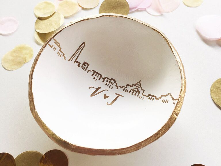 Personalized anniversary ring dish gift