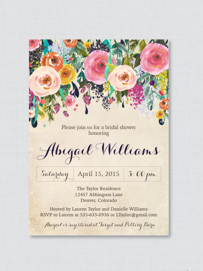 Shabby Chic Fls Fl Bridal Shower Printable Invite Template Diy