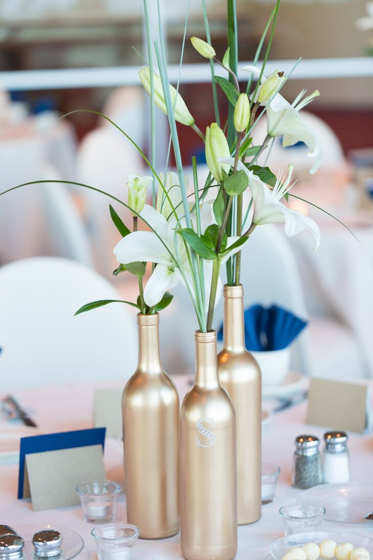 DIY Gold Bottle Centerpieces with Asiatic Lilies