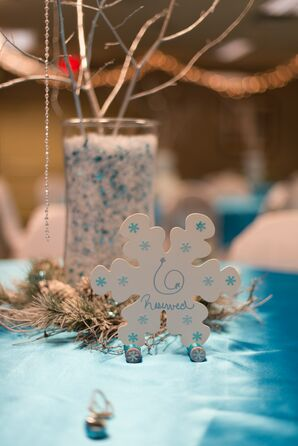 Silver and Blue Wintry Decor at Frozen-Inspired Wedding