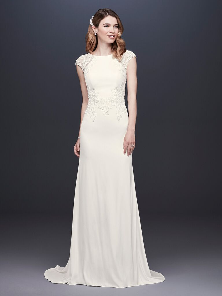 David's Bridal Spring 2019 wedding dress with a sheath silhouette and cap sleeves