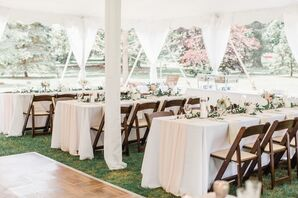 Romantic Tented Reception with Folding Chairs
