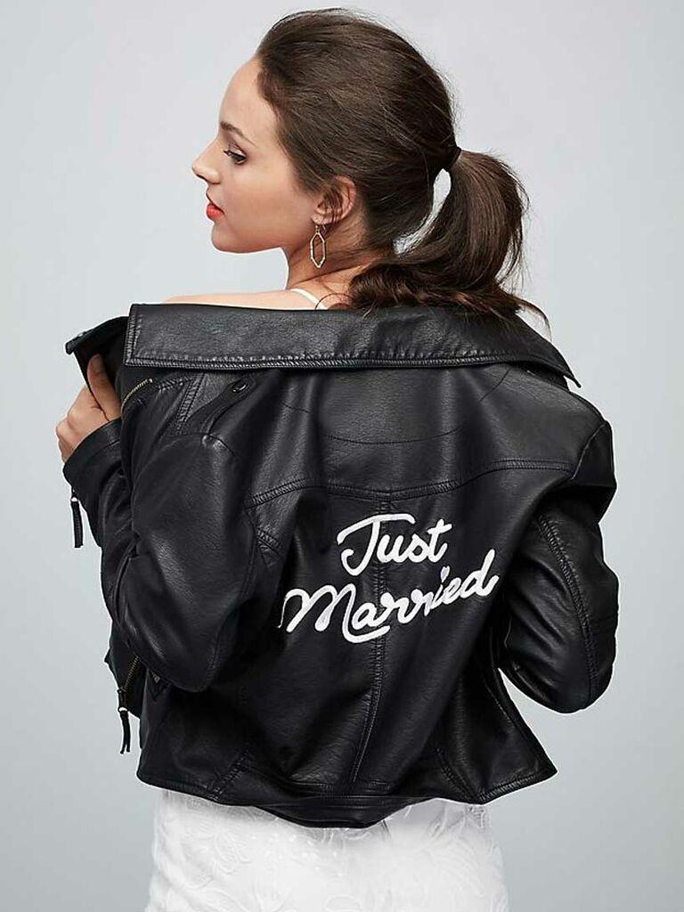"Black leather ""Just Married"" wedding jacket"