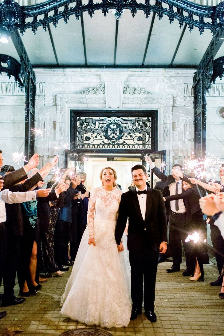 Glamorous Recessional with Long-Sleeved A-line Dress and Black Tuxedo
