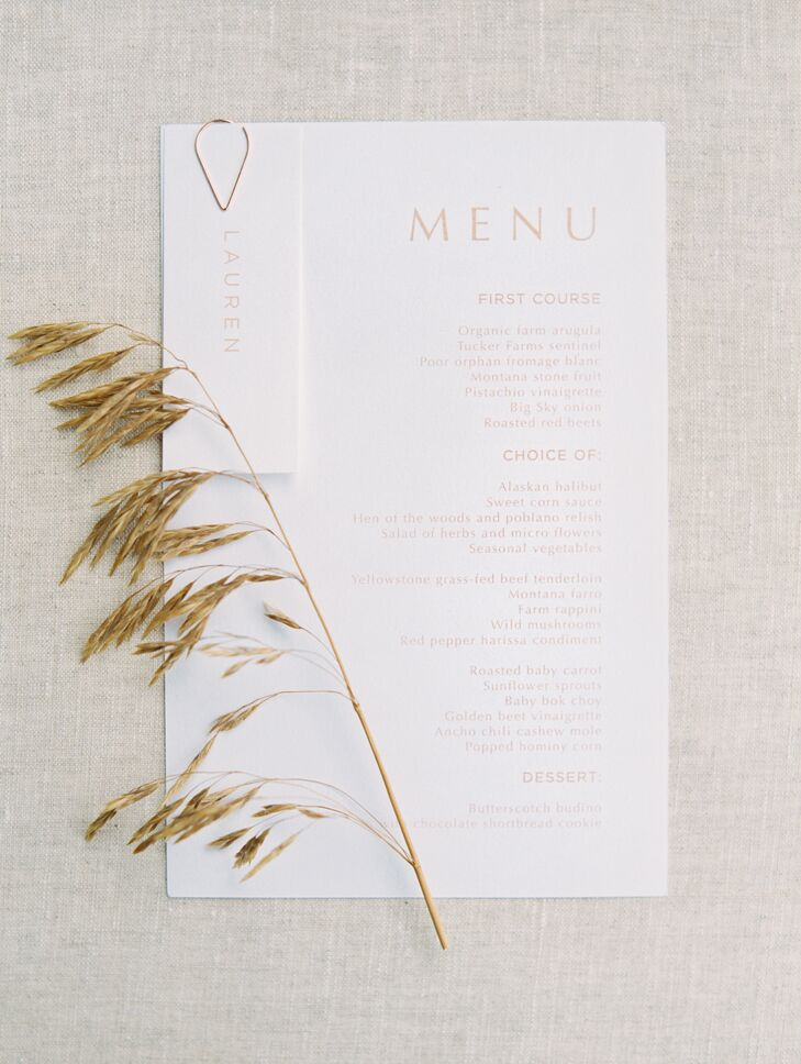 Simple White Dinner Menu