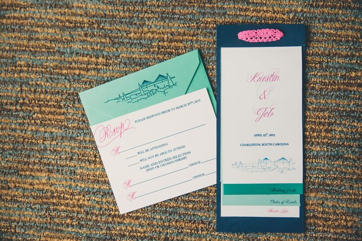Kristin and Jeb used a turquoise, navy and pink color palette for their modern invitation suite. They loved how the stationery set the tone for their colorful waterfront nuptials.