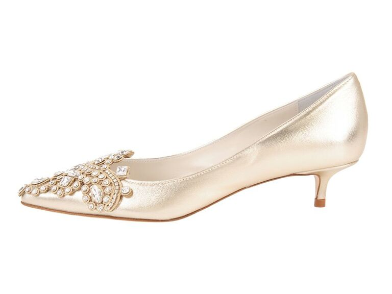 Gold kitten jeweled wedding heels