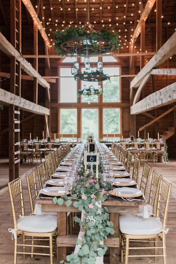 Rustic Barn Reception with Gold Accents