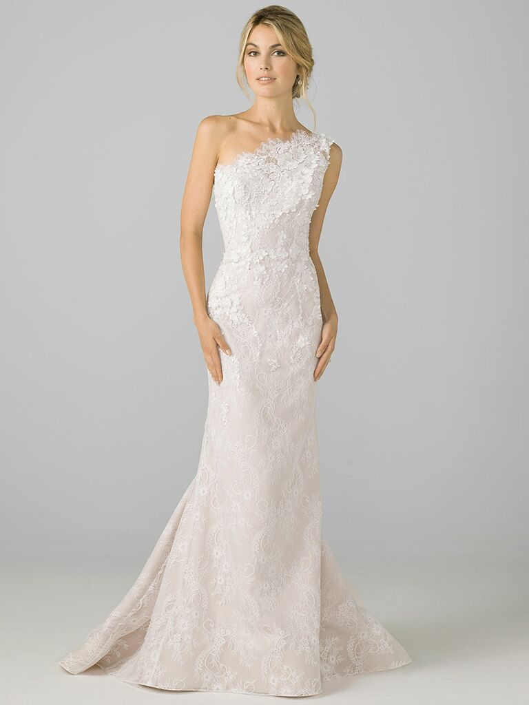 Azul by Liancarlo Fall 2018 wedding dresses one-shoulder lace column gown