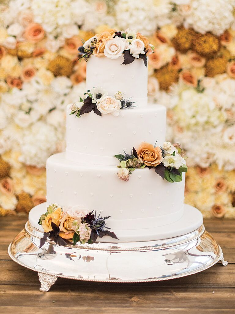 Boho Fall Wedding Cake With Roses And A Swiss Dot Design