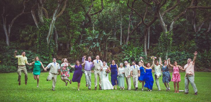 Bright, Tropical Wedding Party and Guests at Waimea Valley