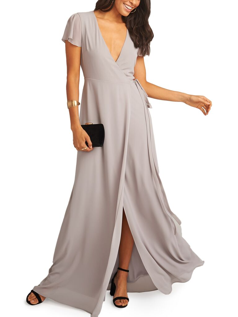 Light gray casual bridesmaid dress