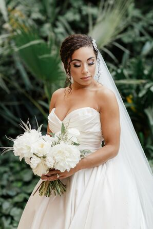 Bride with Elegant Updo and White Bridal Bouquet