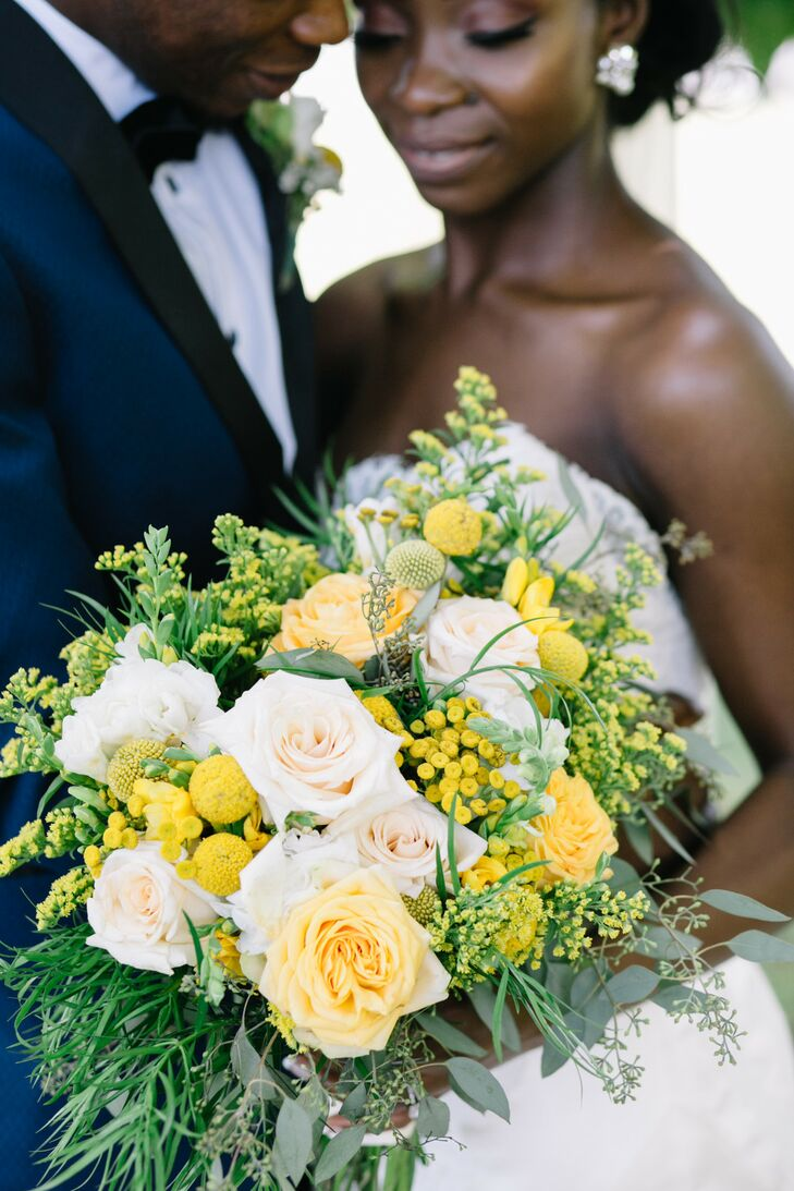 White-and-Yellow Bouquet for Wedding at Mystical Rose Gardens in Baldwin, Wisconsin