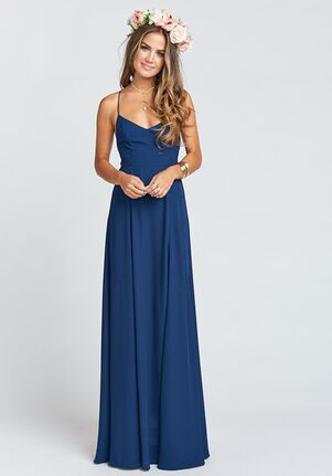 Show Me Your Mumu Godshaw Goddess Gown - Rich Navy Crisp Scoop Bridesmaid Dress