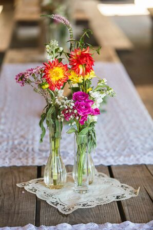 Colorful Wildflower Centerpieces in Glass Vases